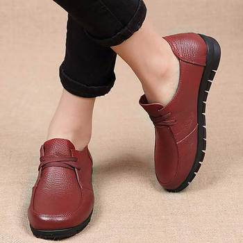 Designer Women Ballet Flats Black Genuine Leather Loafers Casual Shoes 2019 New Buty Damskie Low Heel Chaussure Femme 1