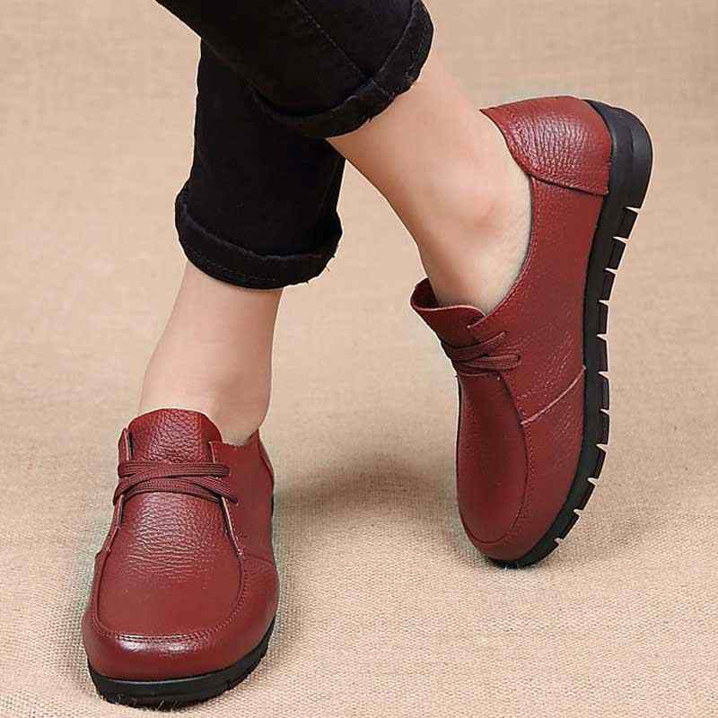 Zapatillas de Ballet de mujer de diseñador negro mocasines de cuero genuino zapatos casuales 2019 nuevo Buty Damskie chaissure de tacón bajo Mujer