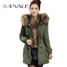 Winter Fur Collar Jacket Women Coats Thick New 2016 Winter Parkas Army Green Hooded Coat
