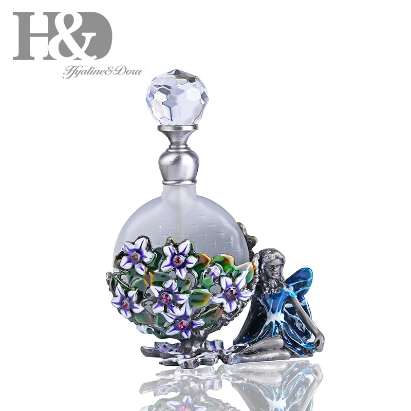 US $13 59 15% OFF|H&D Vintage Pewter Angel Figurine Perfume Bottle Heart  Shaped Jewelry Frosted Mini Scented Fragrance Container-in Refillable  Bottles