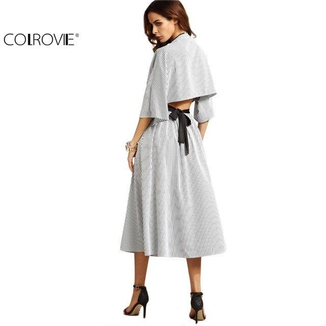 COLROVIE Women Grey Striped Contrast Belt Open Back V Neck Three Quarter Length Sleeve A Line Long Dress