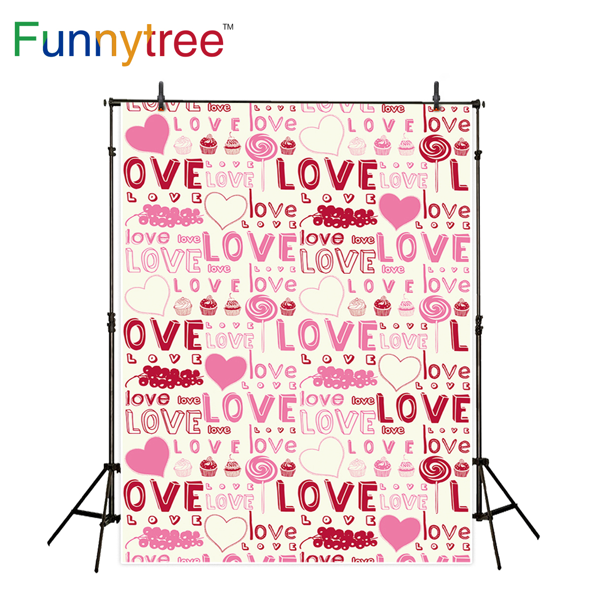 Funnytree photography backdrops baby candy love cake step and repeat background photographic photo studio photobooth
