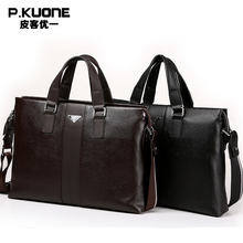 P.kuone 2017 new fashion man male commercial genuine leather briefcase shoulder bag messenger bag laptop bag M0011