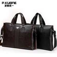 P.kuone 2017 new fashion man male commercial genuine leather briefcase shoulder bag messenger bag laptop bag M0011