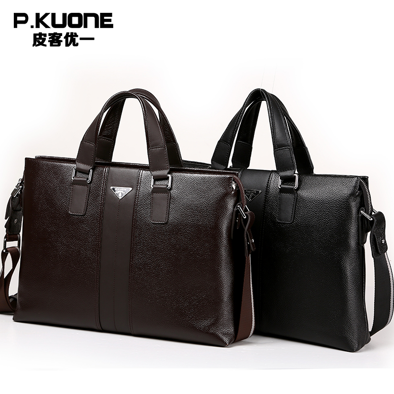 P.kuone 2018 new fashion man male commercial genuine leather briefcase shoulder bag messenger bag laptop bag M0011 часы nixon ranger 45 leather black red