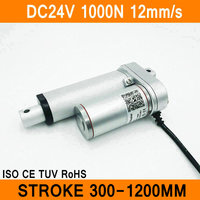 Linear Actuator 24V DC Motor 1000N 12mm S Stroke 300 1200mm Linear Electric Motor IP54 Aluminum