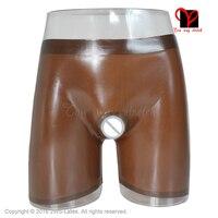 Hot Bermuda Brown open Sexy Latex long leg Boxer shorts Panties penis Rubber pants ring Hotpant Hole bottom shaft KZ 023 XXL