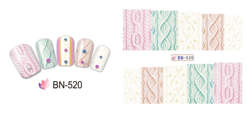 12 шт. красота слаще ткань Slider для гвозди плюсы воды дизайн ногтей наклейки наклейки красочные этикета bn517-528