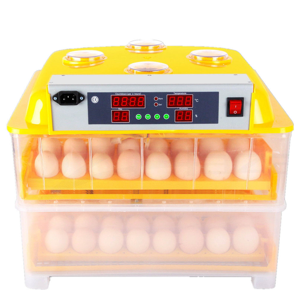 Digital 96 Chicken Eggs Mini Industrial Incubator LED Display Automatic Turning Hatching for Samll Hen Bird Duck Eggs