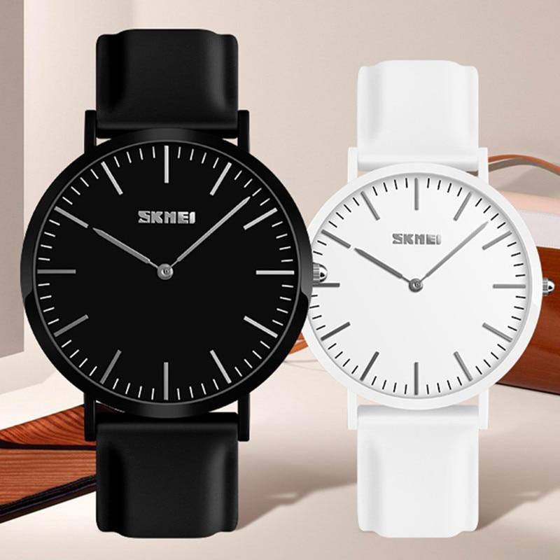 SKMEI Simple Couple Watch Women Quartz Clock 3Bar Waterproof Silicone Strap Wrist Fashion Lovers Watch Men Relogio Feminino 2019