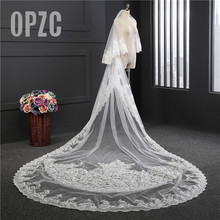 Voile Mariage 3M*1.8M Long Veil With Comb 2 Layer Lace Edge Purple White Ivory Cathedral