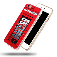 For Iphone 4s 5s 6 6 plus 3D Hard Case, Sherlock Holmes and John Watson in Door 221B Design, London Old Fashion Telephone Booth