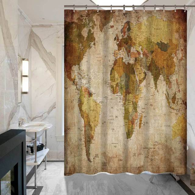 SunnyRain 1 Piece Decorative World Map Printed bath Curtain Fadeless ...