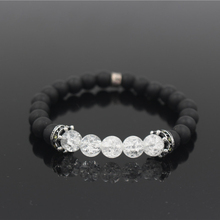 Natural Stone Crown Beads Bracelet For Women Pave Zircon Men Antique Silver Color Stretch Bead Bracelets Mens Jewelry