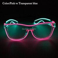 EL Tel LED Neon Işık up Çift Renk ile Toptan 50 adet Parlayan Gözlük Olay Parti Dekor için Ses aktif