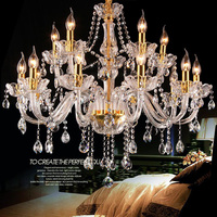 Parlor sitting room clear crystal chandeliers Bohemian 12/15/18 lights Gold base candle holder Led chandelier lampada LED E14
