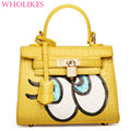 2016 New Fashion Brand Korean Version Big Eyes PU Handbag Designer Handbags High Quality Women Shoulder Bag Rivet Crossbody Bag