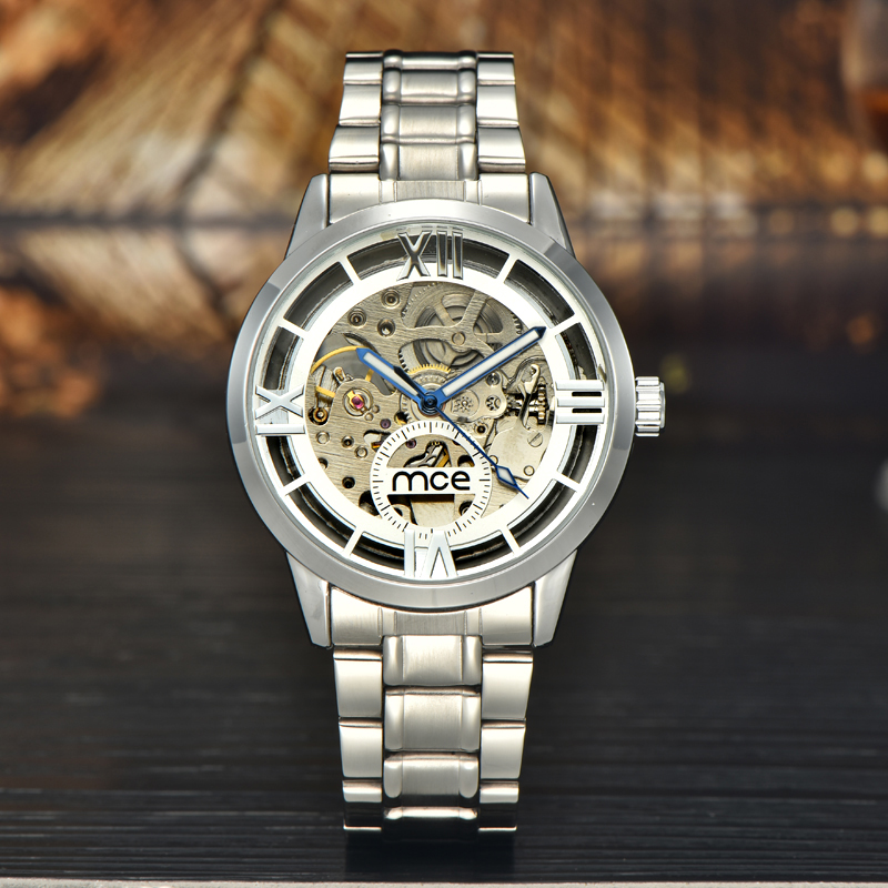 2018 new MCE brand Automatic Mechanical Watches for men fashion all silver Skeleton Watch business stainless steel clock 064 mce men s fashion stainless steel band analog mechanical watch black silver