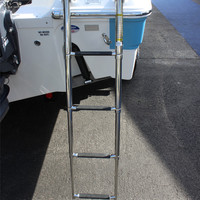 Free Shipping Marine Boat 4 Step Folding Ladder Stainless Steel 304 Telescope Pulley Laader