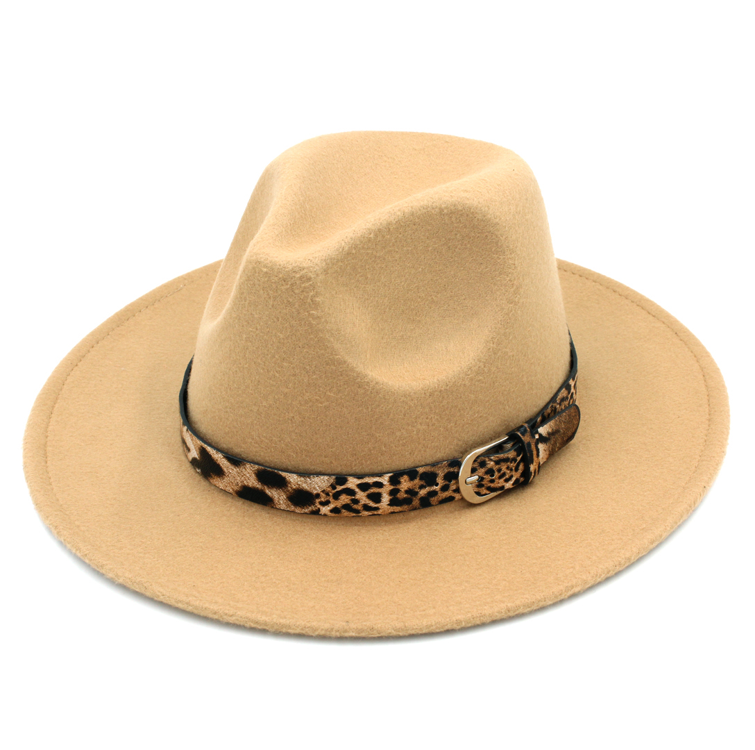 LUCKYLIANJI Leopard Leather Band Solid Color Men Women Wide Brim Wool Felt  Panama Hat Fedora Caps (Adjust Size 57cm US 7 1 8)-in Fedoras from Apparel  ... 26bc8401f2e5