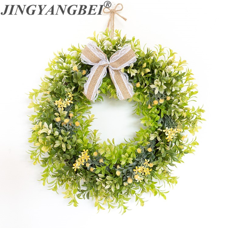 Green Milan Round wreath plastic artificial flowers Fake plants Garlands wall decorate home decoration wedding flower
