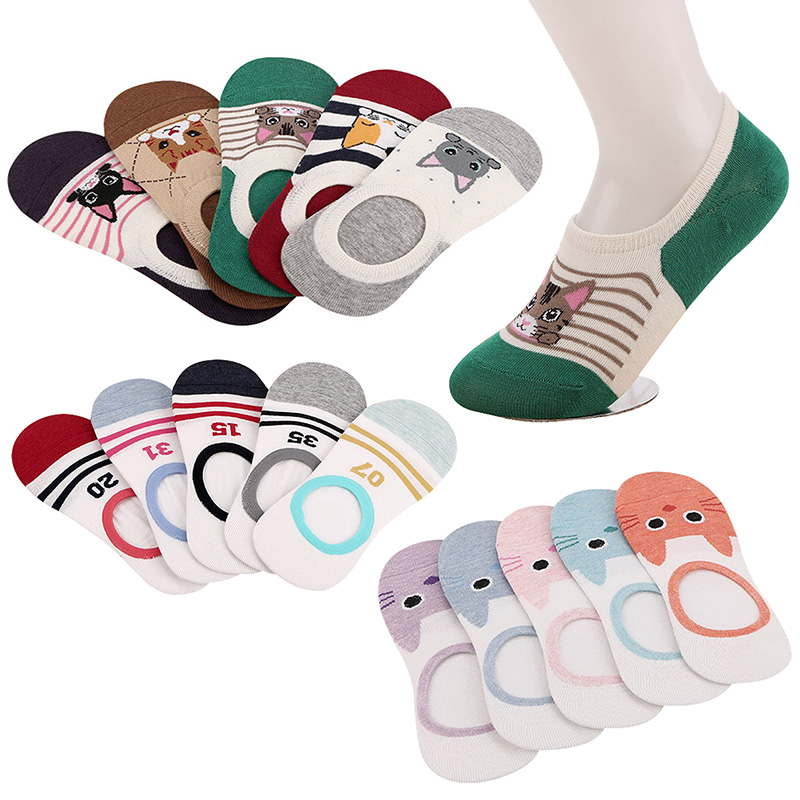 5 Pairs Women's Invisible Boat   Socks   Creative Animals Cartoon Cat Funny Happy   Socks   Summer Autumn Low Cut Girl Female   Sock   Meias