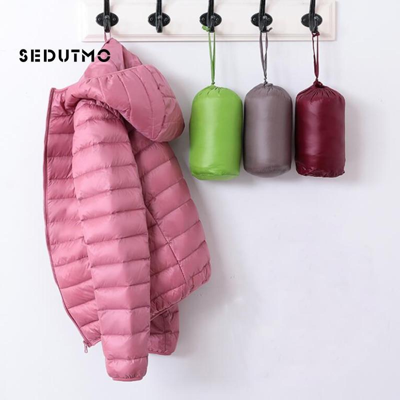 SEDUTMO Spring Plus Size 4XL Womens Down Jackets Ultra Light Winter Duck Down Coat Short Hoodie Puffer Jacket Parkas ED659