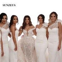 One Shoulder White Bridesmaid Dresses Long Dot Tulle Pleats Bow on Shoulder Elegant Party Dress for Women feestjurken SBD40