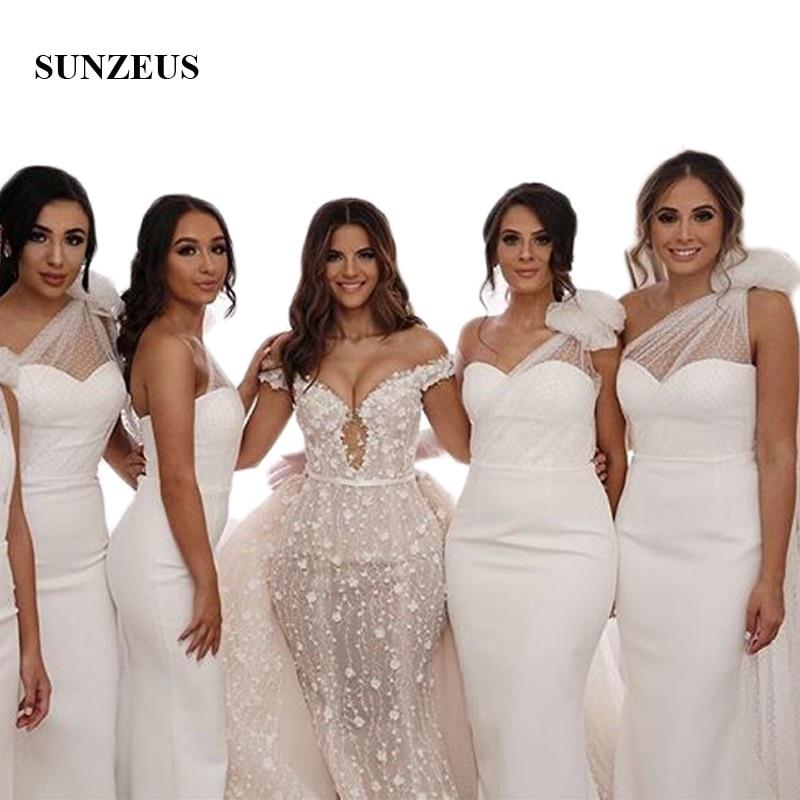 Une épaule blanc robes de demoiselle d'honneur à Long point Tulle plis arc sur l'épaule élégante robe de soirée pour les femmes feestjurken SBD40