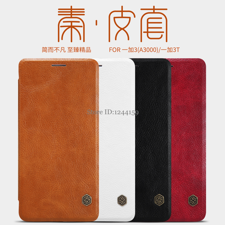 Para oneplus 3 3T caso wake up inteligente NILLKIN Qin Série carteira de Couro Case para oneplus 3 filp capa Para um além de 3 3T casos