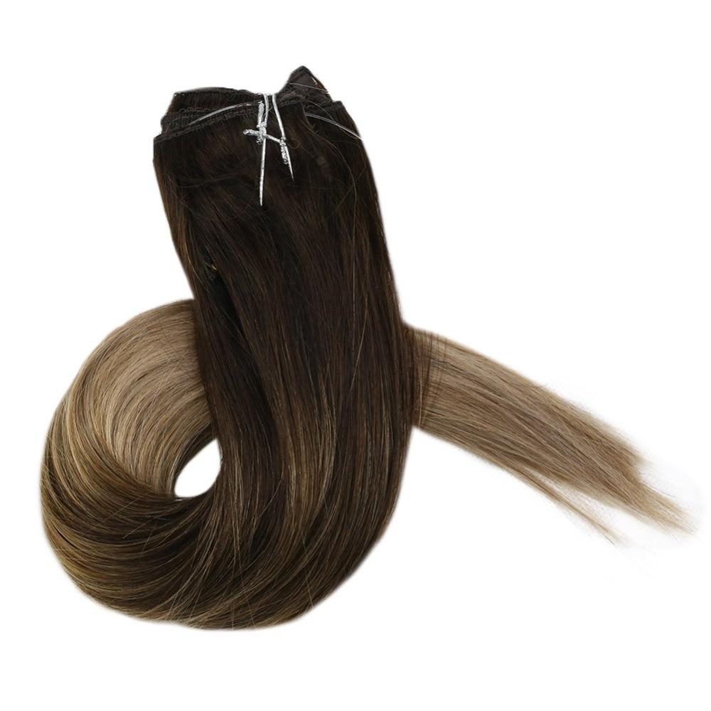 GroßZüGig Voller Glanz 20 Pcs 50 Gramm Menschliches Haar Farbe #2 Dunkelbraun Verblassen Zu #8 Ash Blonde Remy Balayage Haar Farbe Nahtlose Band In Haar Haarverlängerung Und Perücken