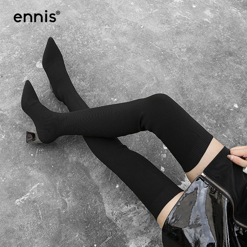 ENNIS 2019 Black Stretch Thigh High Boots For Women High Heel Over The Knee Boots Pointed Toe Fabric Stretch Boots Shoes L837