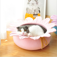 New flower cat litter natural felt cat house at house warm autumn and winter cats sleeping bag four seasons universal