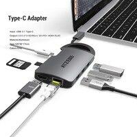 USB C Hub 8 in 1 USB C to HDMI RJ45 Thunderbolt 3 Adapter for MacBook Samsung Galaxy S10 Huawei Mate 20 P20 Pro Type C USB Hub