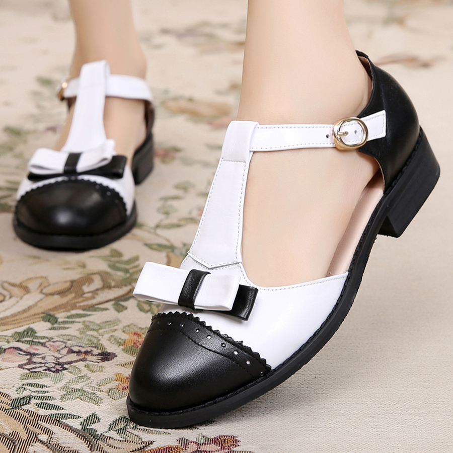 8517f53878a US $37.58 54% OFF Women sandals oxford shoes vintage cow leatehr flats bow  gladiator oxfords summer platform sandals for women slippers 2019-in Low ...