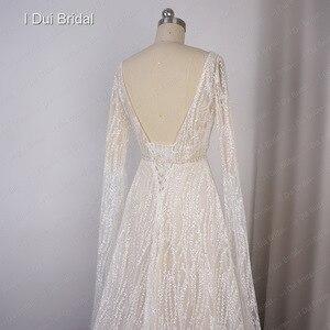 Image 5 - Vestido de novia Sparkle con manga larga hasta el suelo escote en V Línea A