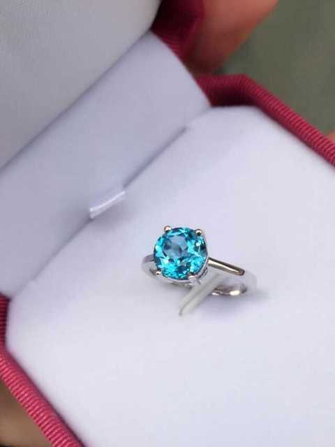 Natural blue topaz stone Ring Natural gemstone Ring 925 sterling silver trendy Simple Circular round women's party Jewelry