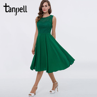 Tanpell Short Homecoming Dress Green Scoop Lace Sleeveless Tea Length A Line Gown Women Graduation Cocktail