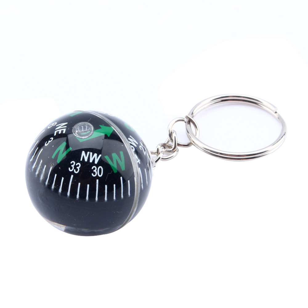 1pcs 28mm Ball Compass Keychain For Hiking Camping Climbing Travel Outdoor Survival with Compass Liquid Filled High Quality mini kompas sleutelhanger