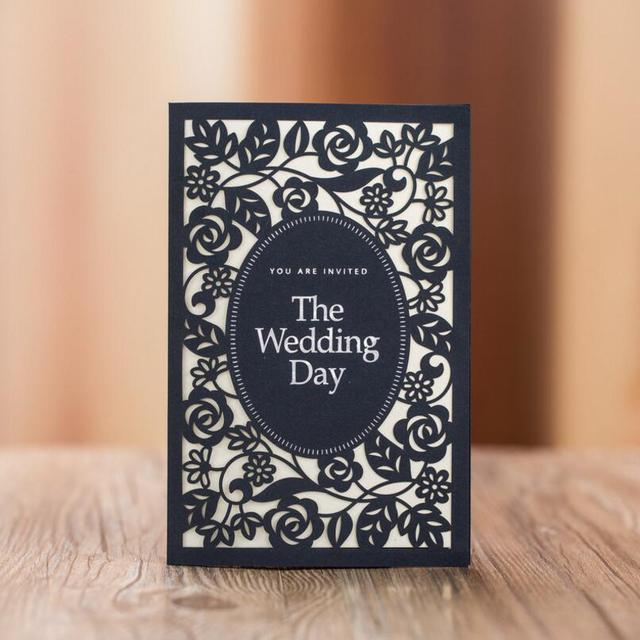 New Wedding Invitations Card Hollow Out Flowers Black Two Fold Pages