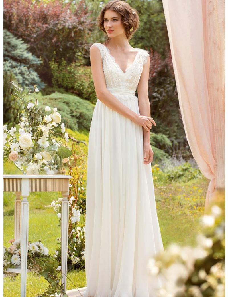 Beautiful A-Line V-Neck Wedding Dresses without Trains Long Casual ...