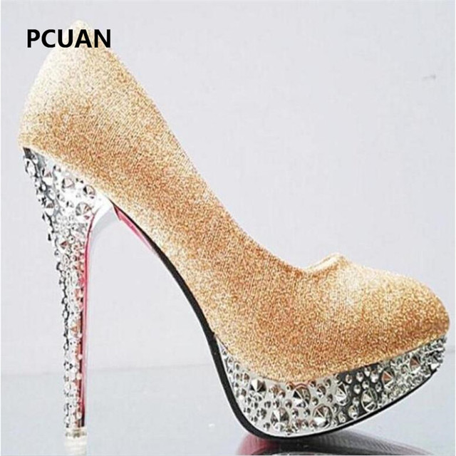 Bridal shoes wedding shoes ladies waterproof platform shallow mouth round head high heels crystal sequins 11cm high heels 35-41 5