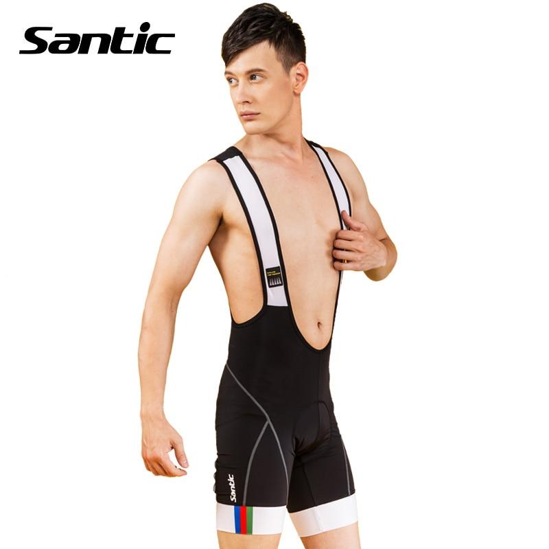 Santic Велоспорт нагрудник шорты 4D хлопка-ватник мужская MTB Велоспорт одежда быстрого сухие велосипедные шорты велосипедные шорты bib носить Salopette брюки