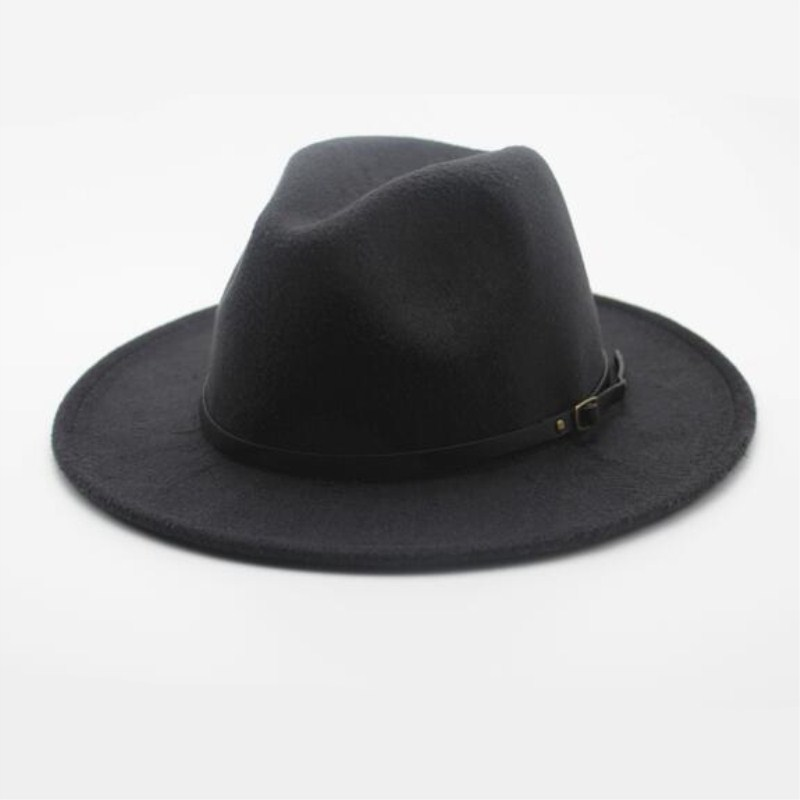 Wool Fedora Hat Hawkins Felt Cap Wide Brim Ladies Trilby Chapeu Feminino Hat  Women Men Jazz ... d6bc2b0703c