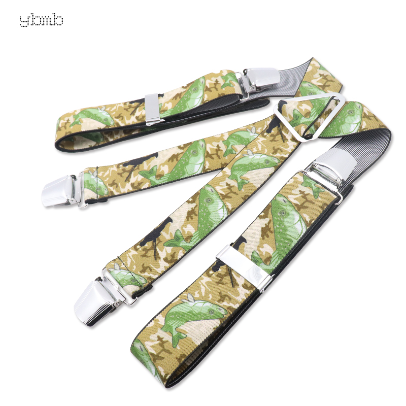 YBMB Suspenders  4 Big Clips 3.5CM X-Shape Adjustable Durable Elastic Belts Straps Braces Animal Color Printing Green Series