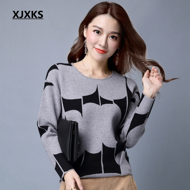 bba55dae7b XJXKS Autumn Pullover Sweater Women Fashion Long Sleeve O Neck Cashmere  Pullover Short Sweaters Slim Knit Wool Bottoming Tops