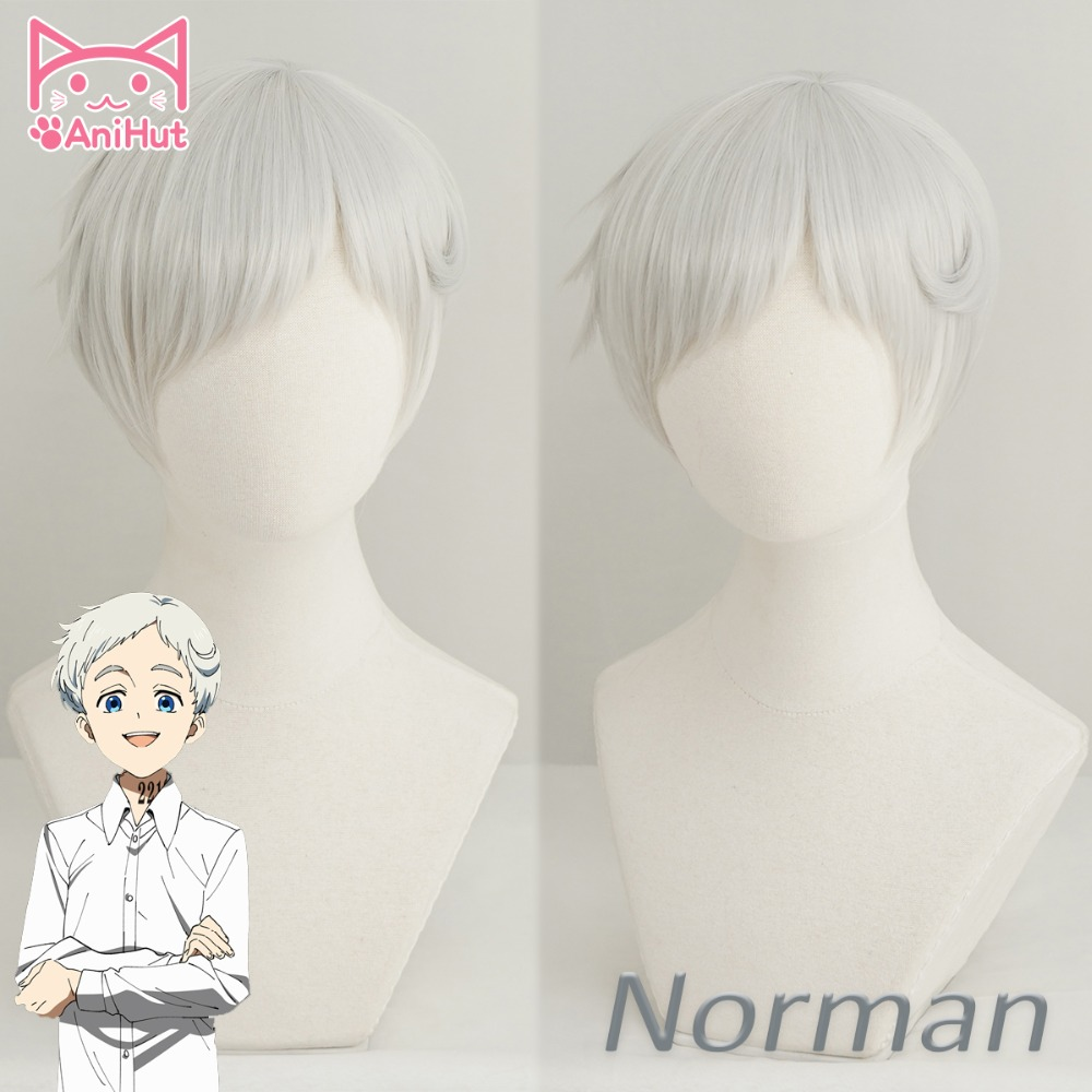 Anihut Norman Cosplay Wig Anime Yakusoku No Neverland Silvery White Cosplay Wig 22194 The Promised Neverland Norman Cosplay