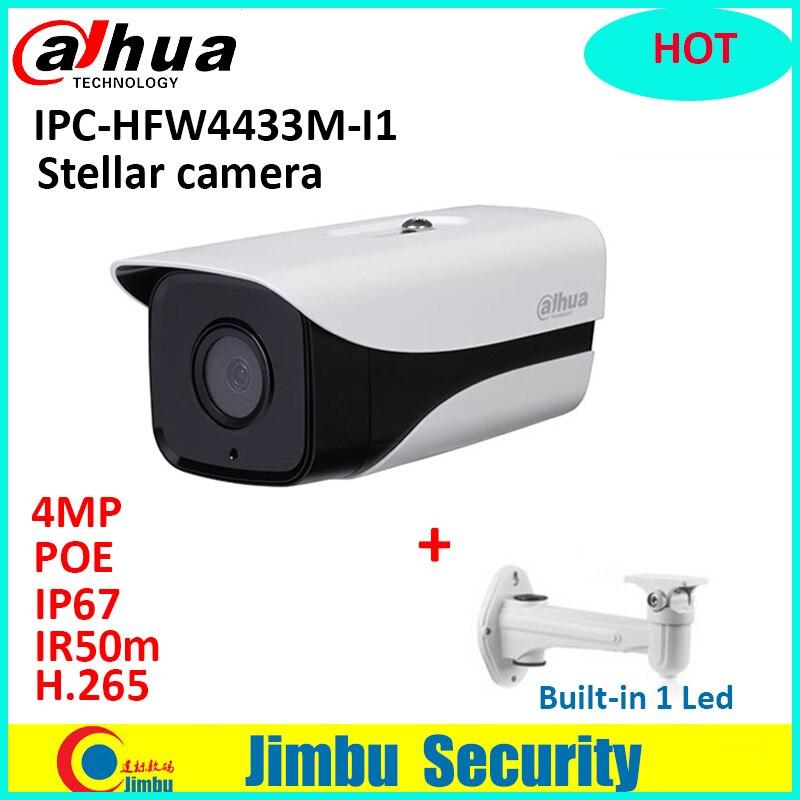 IP Camera poe dahua IPC-HFW4433M-I1 IR50m 4MP IRIP camera H.265 Full HD Network IP67 IR Mini Camera POE cctv bullet with bracket dh ipc hfw4433m as i1 4mp ir bullet network camera outdoor 50m ir security cctv poe ip camera with audio alarm sd slot