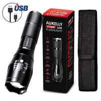Aukelly Micro USB флэш-светильник 1000 люмен XML T6 тактический масштабируемый фонарь внешний аккумулятор linternas водонепроницаемый перезаряжаемый флэш-...