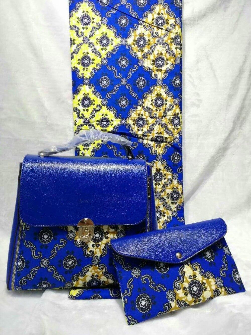 6 mètres Merveilleux royal bleu motif imprimé hollandais batik cire match africain deux grand sac à main ensemble pour la partie WB42